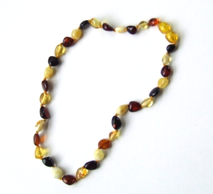Mixed Amber Teething Necklace. Click to view larger image.